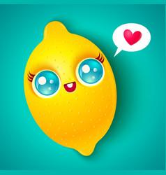 kawaii lemon on bright background vector image