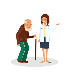 pensioner with doctor vector image