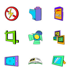 Photography icons set cartoon style vector