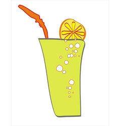 A glass of a drink with lemon slice and a straw vector