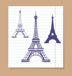 Eiffel towers set on linear page vector