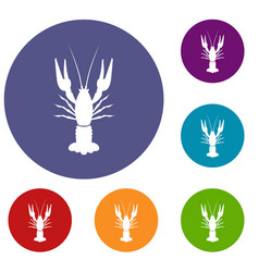 Lobster icons set vector