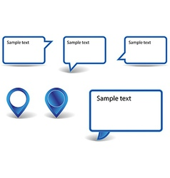 Set of blue pointers on white background with vector
