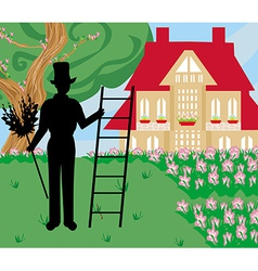 Chimney sweeper at work vector