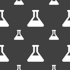 Conical flask icon sign seamless pattern on a gray vector