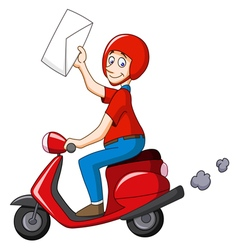 delivery man on scooter vector image