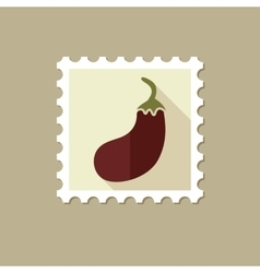 Eggplant flat stamp with long shadow vector