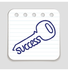 Doodle key to success icon vector