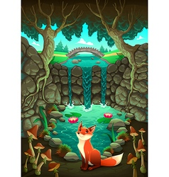 The fox near a pond vector