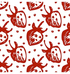 Seamless fruits pattern with strawberries vector