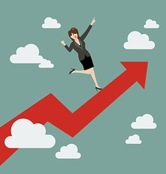 Business woman standing on a growing graph vector