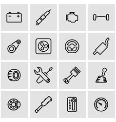 Line car parts icon set vector