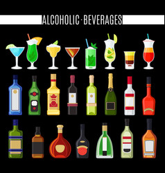 alcoholic beverages icons set vector image vector image