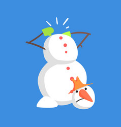 Alive classic three snowball snowman lost his head vector