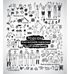 Big hand drawn icons and people doodles bundle vector