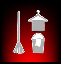broom bucket and hanger vector image