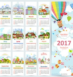 Calendar for 2017 with collection of cute vector image