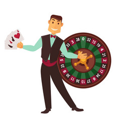 croupier in work suit with play cards and roulette vector image