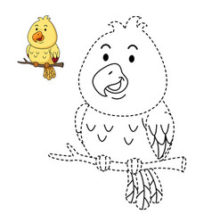 educational game for kids and coloring book-bird vector image vector image