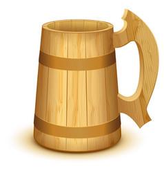empty wooden mug for beer vector image vector image