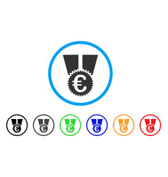 euro medal rounded icon vector image