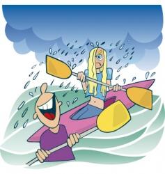 girl on kayak vector image