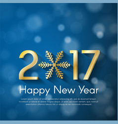 Golden new year 2017 concept on blue blurry vector
