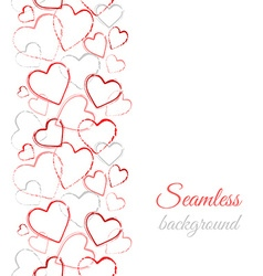 Grunge color hearts border seamless pattern vector
