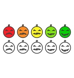 Halloween Pumpkin color Emoji icons vector image vector image