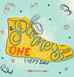 Hand drawn retro lettering quote - a journey vector