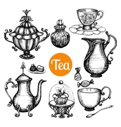 Hand drawn retro tea set vector