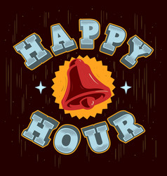 Happy hour poster sign label design with a ring vector