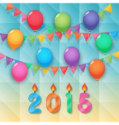 happy new year candles balloon and party flags sky vector image