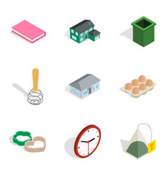 Home environment icons set isometric style vector