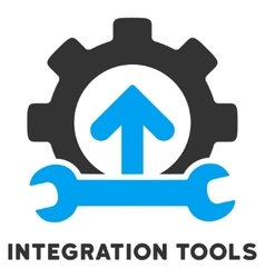 Integration tools flat icon with caption vector