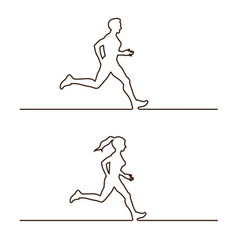 Line silhouettes of runners vector