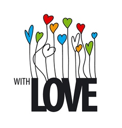 Logo lots of colorful hearts vector