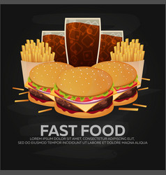 lunch with french fries burger and soda takeaway vector image
