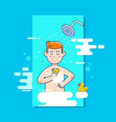 man washes in the shower in the bathroom vector image