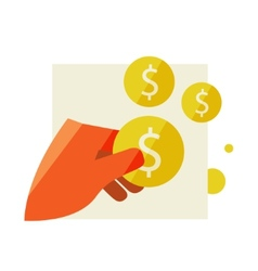 Mans hand holding a coin vector image vector image