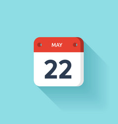 May 22 isometric calendar icon with shadow vector