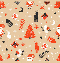 merry christmas seamless pattern with santa claus vector image