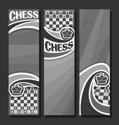 Monochrome banners for chess vector