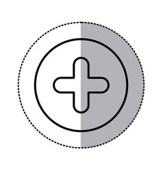 Monochrome contour circular sticker with plus icon vector