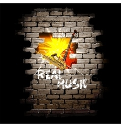 Musical breakthrough in brick wall vector