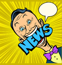 news pop art man journalist vector image vector image