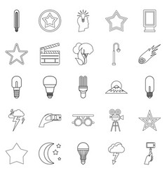 Outbreak icons set outline style vector