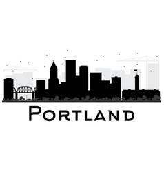 Portland city skyline black and white silhouette vector