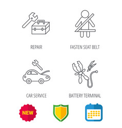 Repair battery terminal and car service icons vector