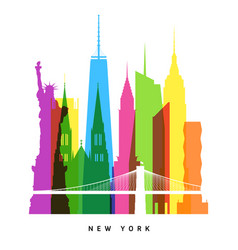 rnew york landmarks bright collage vector image vector image